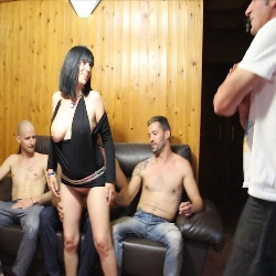 Consenting cuckold gives her wife away to four dudes to fuck her